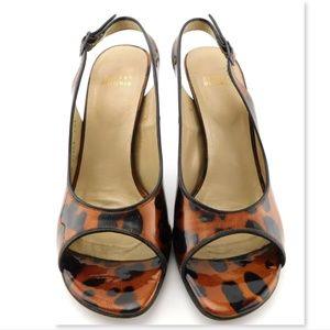 Stuart Weitzman Shoes - STUART WEITZMAN Leopard Patent Sling Pumps 8.5